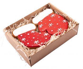 Новогодний набор имбирных пряников «Сапожок + Варежка»  расписные, в коробке