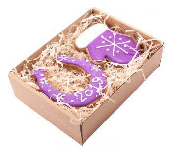 Новогодний набор имбирных пряников «Подкова + Варежка малая». в коробке