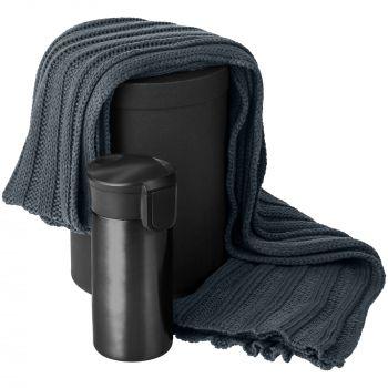 Набор «Heat The Road», чёрный, шарф, термостакан, коробка