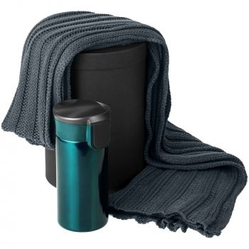 Набор «Heat The Road», бирюзовый, шарф, термостакан, коробка