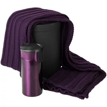 Набор «Heat The Road», фиолетовый, шарф, термостакан, коробка