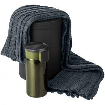 Набор «Heat The Road», зелёный, шарф, термостакан, коробка