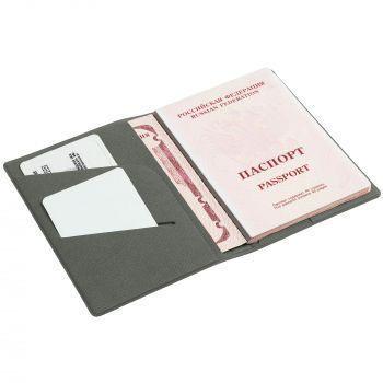 Обложка для паспорта «Devon», серая, пример использования