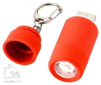 Мини-фонарь Avior с зарядкой от USB красный