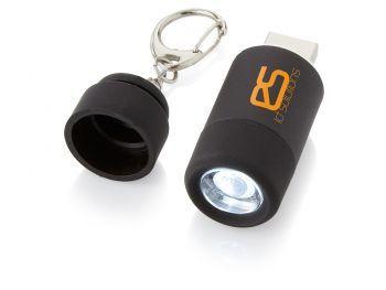 Мини-фонарь Avior с зарядкой от USB, черный, пример нанесения
