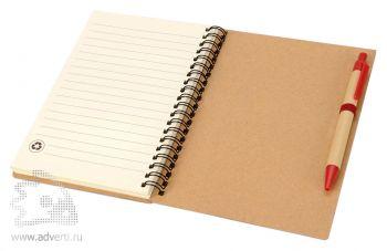 Блокнот А6 «Priestly» с ручкой, красный, открытый на последней странице