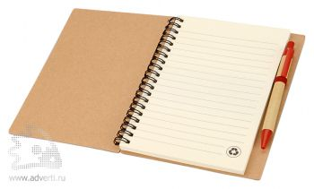 Блокнот А6 «Priestly» с ручкой, красный, открытый на первой странице