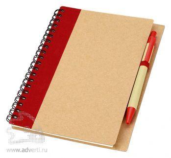 Блокнот А6 «Priestly» с ручкой, красный