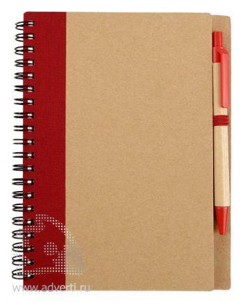 Блокнот А6 «Priestly» с ручкой, красный, анфас