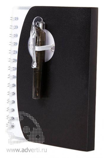 Блокнот А7 «Tribune» с ручкой, черный