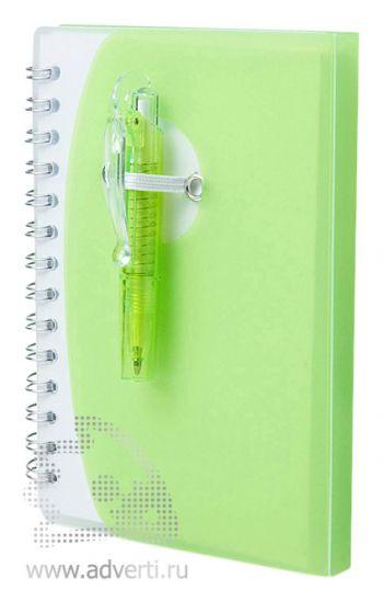 Блокнот А7 «Tribune» с ручкой, зеленый