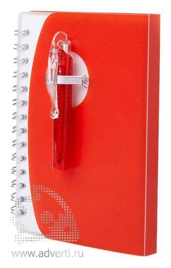 Блокнот А7 «Tribune» с ручкой, красный
