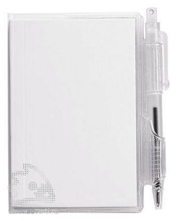 Блокнот А7 «Air» с ручкой, белый, анфас