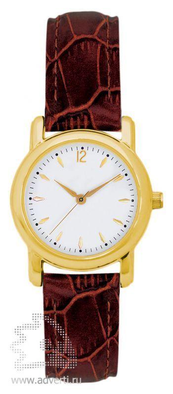 Часы наручные, мужские, круглые, золотой корпус с коричневым ремнем