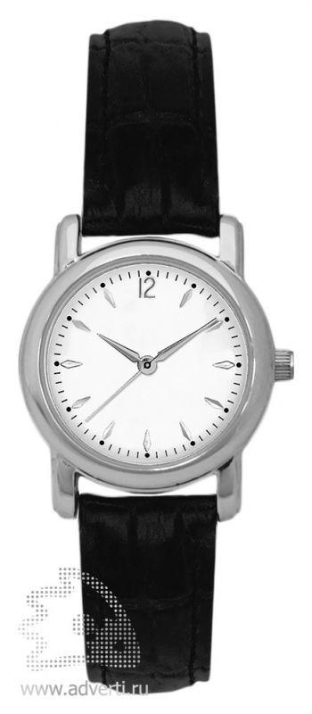 Часы наручные, мужские, круглые, серебряный корпус с черным ремнем