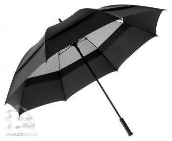Зонт-трость «Degna» Slazenger с двойным куполом, механический, черный с серым