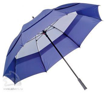 Зонт-трость «Degna» Slazenger с двойным куполом, механический, темно-синий