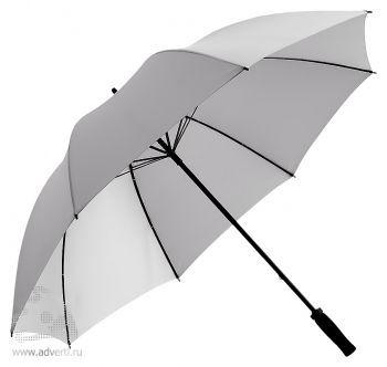 Зонт-трость «Jacotte» противоштормовой, механический, серебристый