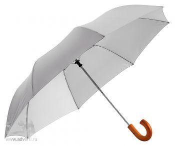 """Зонт складной 23"""", полуавтомат, 2 сложения, серебристый"""
