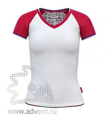 Футболка «Moscow Style W», женская, белая с красным