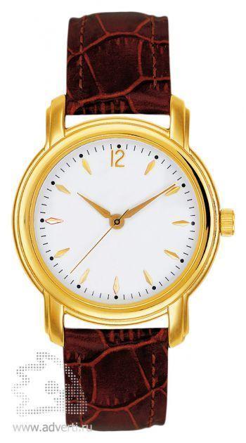 Часы наручные «Женева», женские, золотой корпус с коричневым