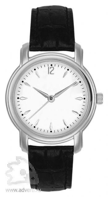 Часы наручные «Женева», женские, серебряный корпус с черным ремнем