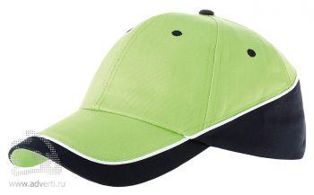 Бейсболка «Draw-1», светло-зеленый/темно-синий/белый