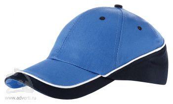 Бейсболка «Draw-1», голубой/темно-синий/белый