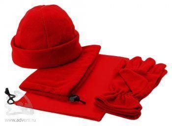 Набор «Dickson»: шапка, перчатки и шарф-воротник, красный