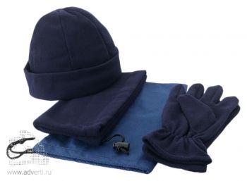 Набор «Dickson»: шапка, перчатки и шарф-воротник, синий