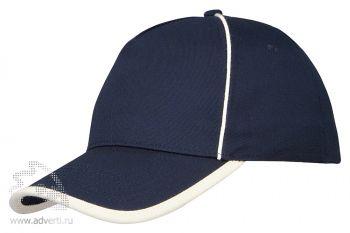 Бейсболка «Ленекса» с контрастными деталями, темно-синий/неокрашенный