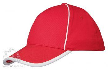 Бейсболка «Ленекса» с контрастными деталями, красный/неокрашенный