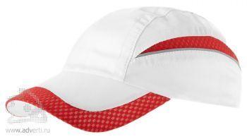 Бейсболка «Qualifie», белая с красным