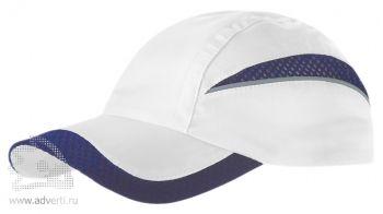 Бейсболка «Qualifie», белая с темно-синим
