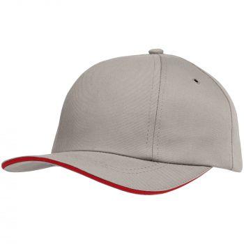 Бейсболка «Bizbolka Canopy», серая с красным