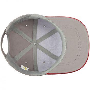 Бейсболка «Bizbolka Canopy», серая с красным, вид изнутри