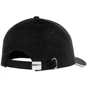 Бейсболка «Bizbolka Canopy», чёрная с белым, вид сзади