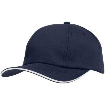 Бейсболка «Bizbolka Canopy», тёмно-синяя с белым