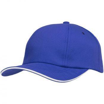 Бейсболка «Bizbolka Canopy», ярко-синяя с белым