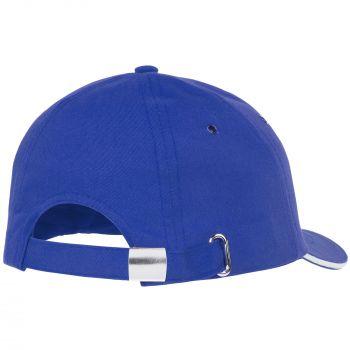 Бейсболка «Bizbolka Canopy», ярко-синяя с белым, вид сзади