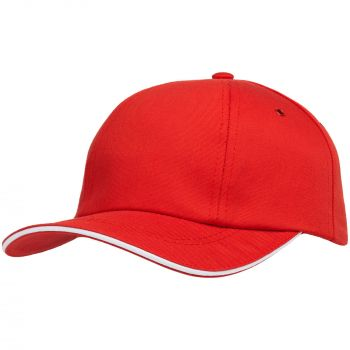 Бейсболка «Bizbolka Canopy», красная с белым