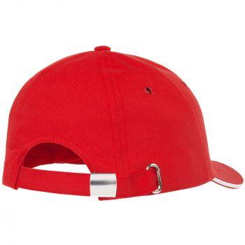 Бейсболка «Bizbolka Canopy», красная с белым, вид сзади