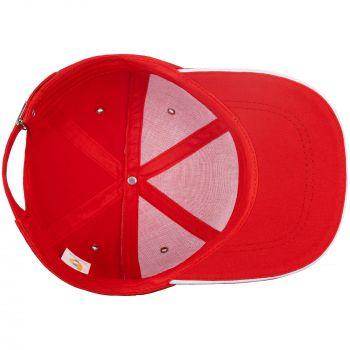 Бейсболка «Bizbolka Canopy», красная с белым, вид изнутри
