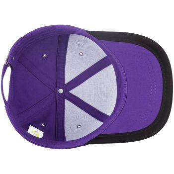 Бейсболка «Bizbolka Honor», фиолетовая с чёрным, вид изнутри