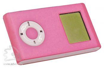 Калькулятор раздвижной с календарем и часами, розовый, сложенный