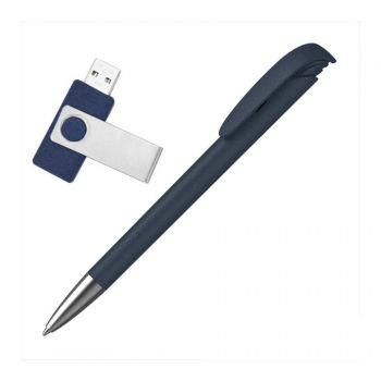 Набор ручка «JONA Softgrip M» + флеш-карта «TWISTA Softgrip MS» 8/16 Гб в футляре, синий, наполнение