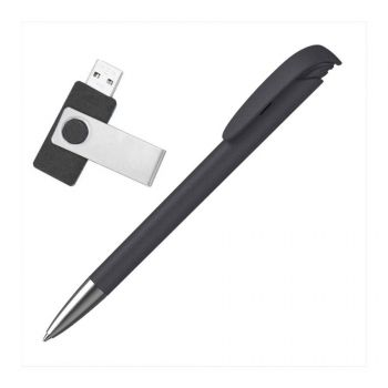 Набор ручка «JONA Softgrip M» + флеш-карта «TWISTA Softgrip MS» 8/16 Гб в футляре, черный, наполнение