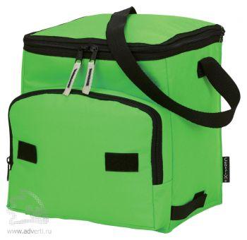 Сумка-холодильник складная на 10 л с дополнительным отделением спереди, зеленый