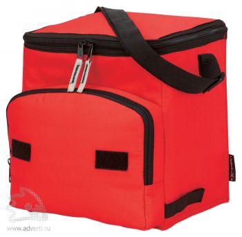 Сумка-холодильник складная на 10 л с дополнительным отделением спереди, красный