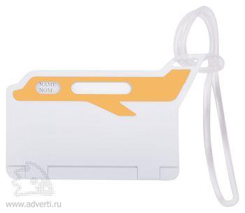 Бирка багажная «Самолет», оранжевая